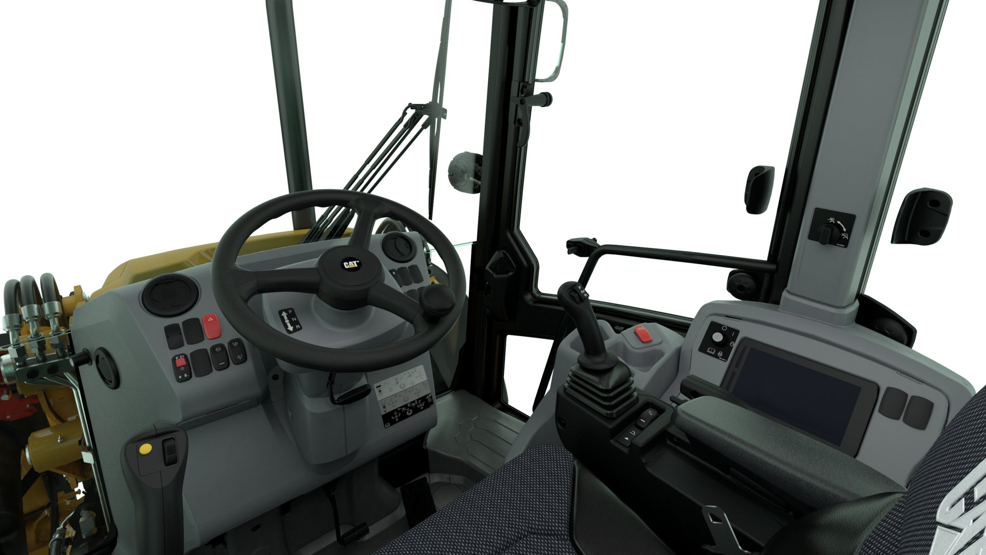 Cat 444 backhoe loader operator cabin