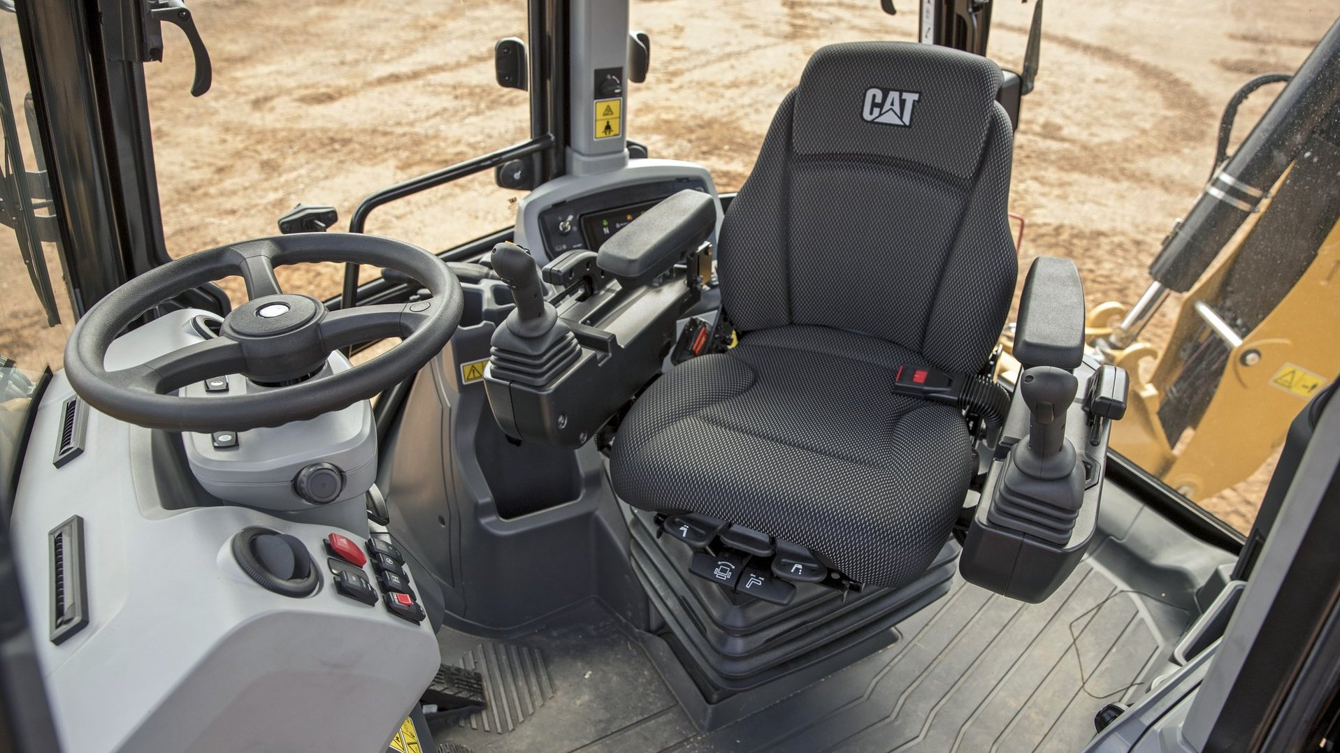 New generation Cat backhoe loader cabin interior